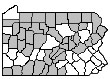 Map of Counties in the Northern Region: Blair, Cambria, Centre, Erie, Lackawanna, Luzerne, Lycoming, Mercer