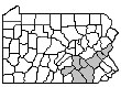 Map of Counties in the South Central Region: Berks, Cumberland, Dauphin, Lancaster, Lebanon, Lehigh, Northampton, York
