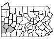 Map of Counties in the Pittsburgh Area Program: Allegheny, Beaver, Washington and Westmoreland